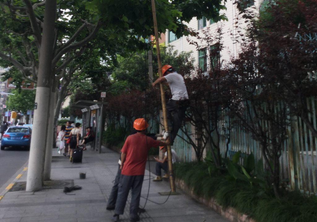 Workers defying gravity on a Shanghai street corner
